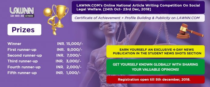 LAWNN.COM's Online National Article Writing Competition On Social Legal Welfare- [Registration Open Till 5th December, 2018]